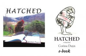 Reviews of Hatched, a creative journey through M.E. by Corina Duyn, Cover of book is of hen in from of window looking at a notebook and pen on window sill