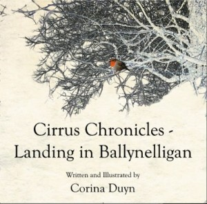 Reviews of Cirrus Chronicles- Landing in Ballynelligan by Corina Duyn. Image of tree and robin