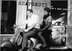 cover of Snapshots, Memoir of Jan & Miep Duyn. with photo of Jan and Miep on a motorbike outside an open kitchen door. 1959 Netherlands